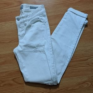 Guess Brittney Skinny distressed white jeans